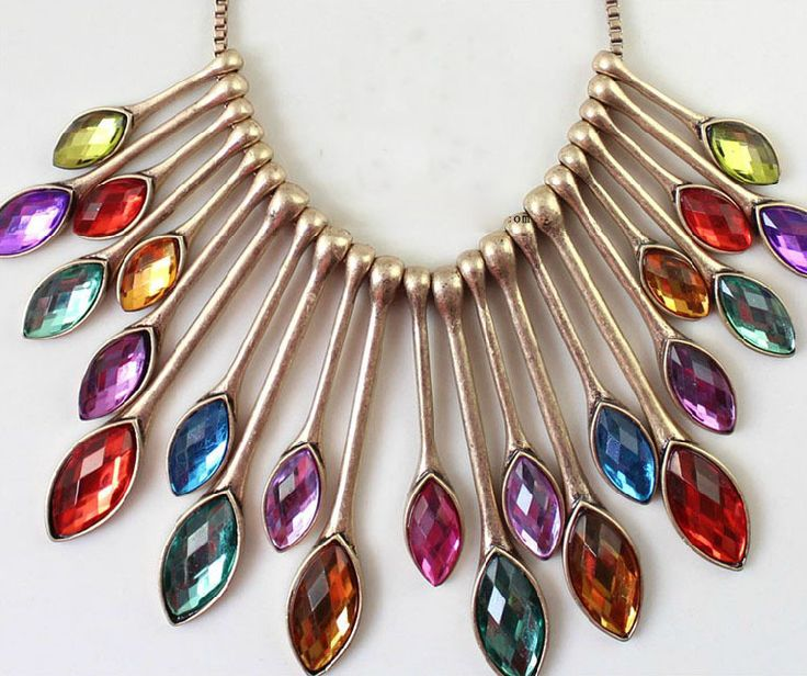 Showy Peacock Tail Feather Pendants Necklaces Inlaid Colorful Rhinestone Gems, Discount Colorful Big Crystal Necklace for Women