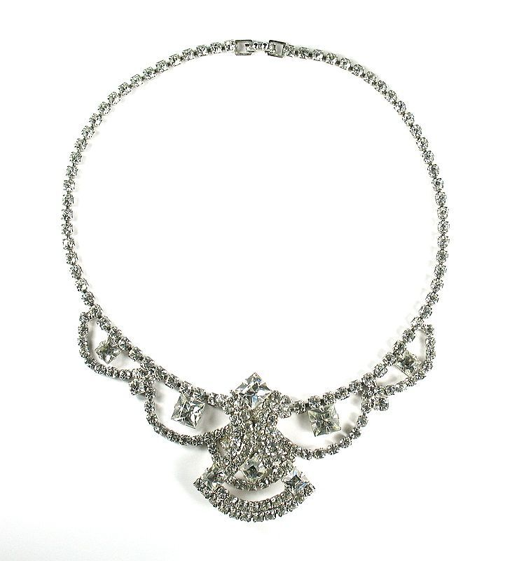 Crystal Rhinestone Large Center Motif Necklace offered at Ruby Lane