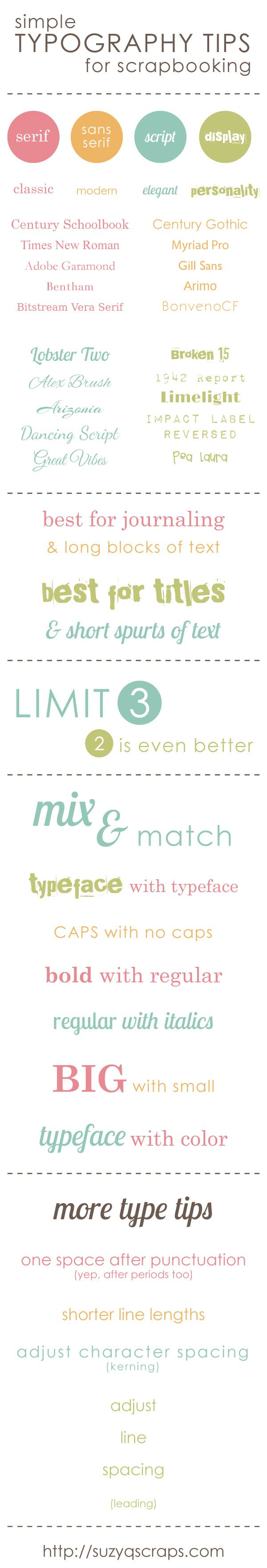 Simple Typography Tips for Scrapbooking | click here for links to the free fonts http://suzyqscraps.com/2013/06/26/simple-typography-tips-for-scrapbooking/