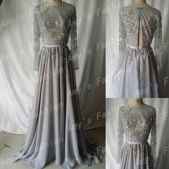 Silver Grey Chiffon Sheer Beaded Top Womens Formal Evening Dresses/Long Sleeve Gown/Evening Dress/High Fashion Long Sleeve Evening Gown on Etsy, $226.00