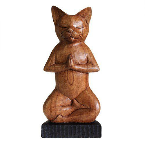 Handcarved+Wooden+Yoga+Cat+-+Lotus