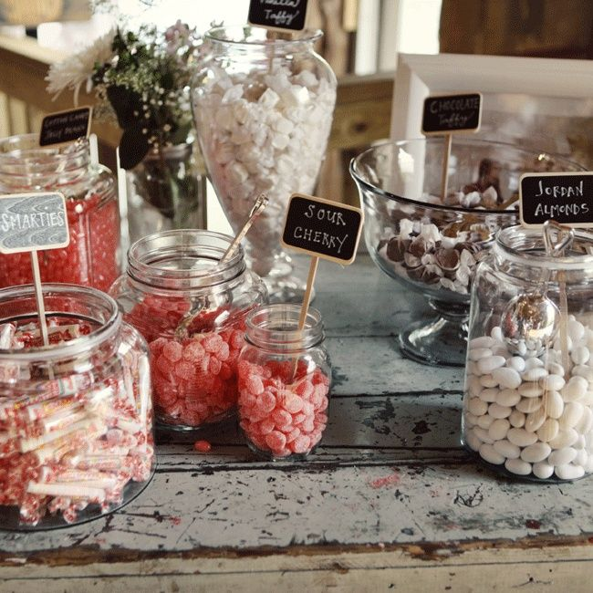 An easy way to keep your candy bar looking pretty and styled? Choose a color combo and stick to it.   Amanda Julca Photographer   TheKnot.com