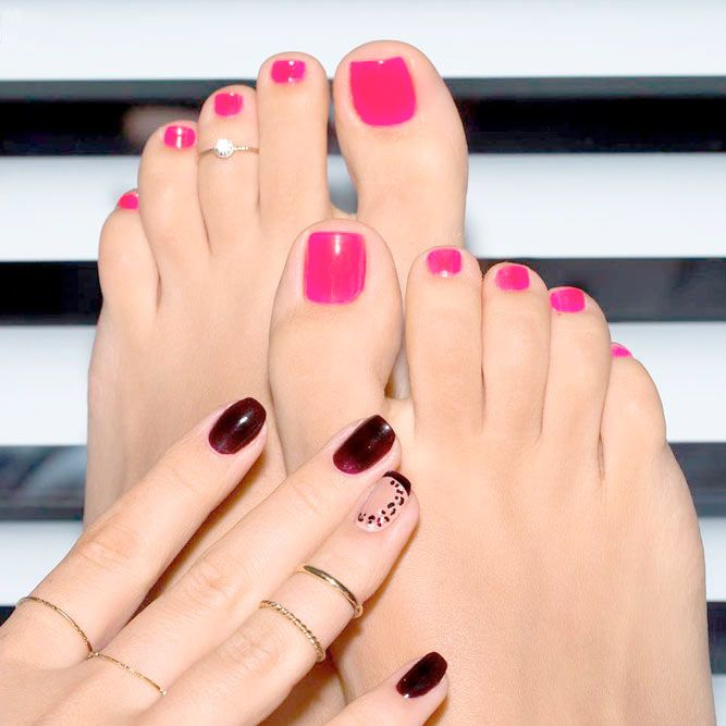Learn How To Do Manicure and Pedicure In No Time ❤ Candy Pink Manicure and Pedicure picture 2 ❤ We suggest to learn how to achieve that perfect look at home. What is more, we are more than willing to share with you the trendies shades to inspire from this season! Pick the one that suits you best! https://naildesignsjournal.com/manicure-and-pedicure-ideas/  #nails #nailart #naildesign  #toenails