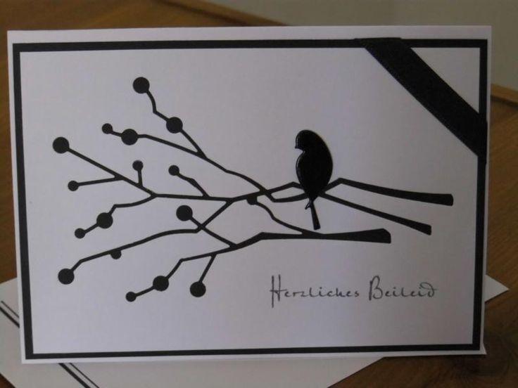 Handgemachte Karte mit Umschlag - Trauerkarte, Beileid ...