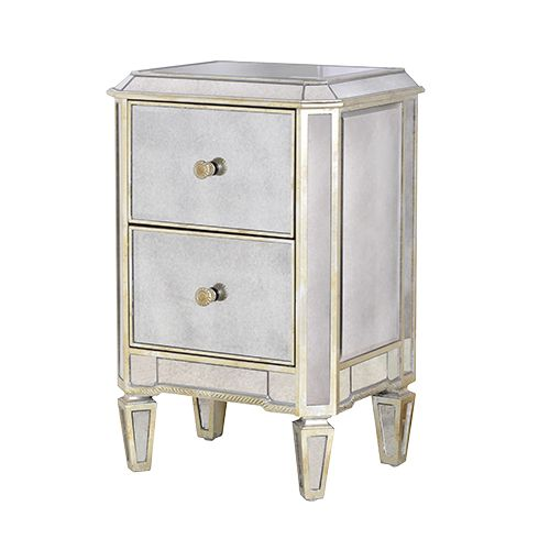 DIOMEDE MIRRORED BEDSIDE TABLE