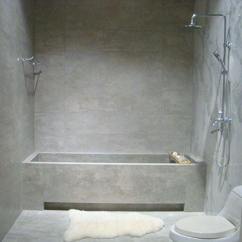 Photo Image Contemporary polished concrete bath created using Cemento light grey concrete effect porcelain tiles