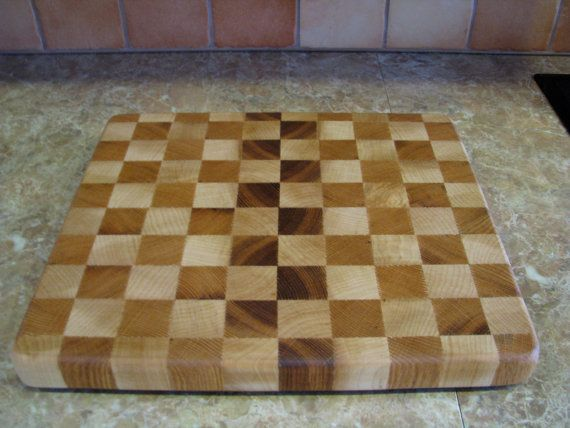 Solid Maple & Red Oak Hardwood End Grain Cutting Board