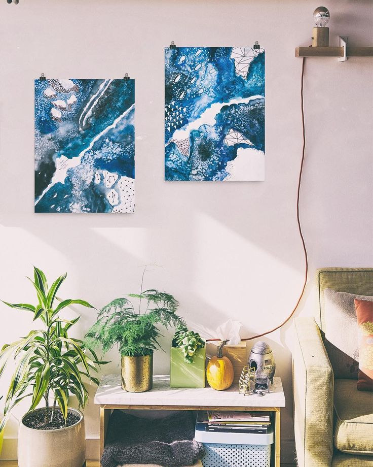 """Evening activity: photoshopping my art into strangers homes. This series - """"underwater"""" is available to purchase as prints in my shop - link in bio @jandersdotter. (Original pic from @unsplash)"""