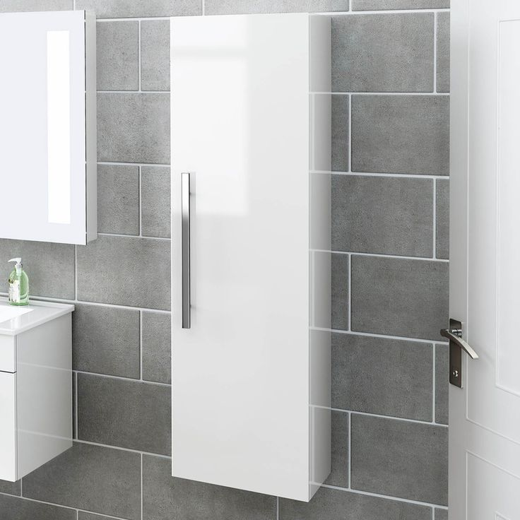 1200 Mm Tall White Bathroom Furniture Wall Hung Modern Cupboard Cabinet Storage Unit Mf822 Ibathuk