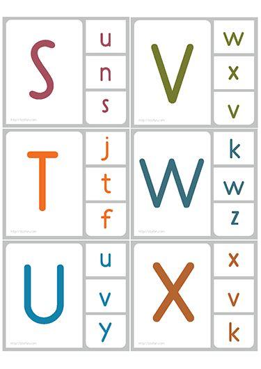 Jeux en ligne Cartes de correspondance MAJUSCULE minuscule; apprendre l'équivalent des lettres en Majuscule et minuscule. Épingler la lettre avec une pince à linge