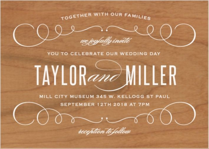 """The Swirl Frame Wood <a class=""""crosslink"""" href=""""https://www.basicinvite.com/wedding/wedding-invitations.html"""" target=""""_self"""" alt=""""Custom Wedding Invitations"""" title=""""Custom Wedding Invitations"""">Wedding Invitations</a> marry classic and modern in this fresh landscape style design. Your bold text is surrounded by delicate scrolling accents. This template has a unique twist- it's pr..."""