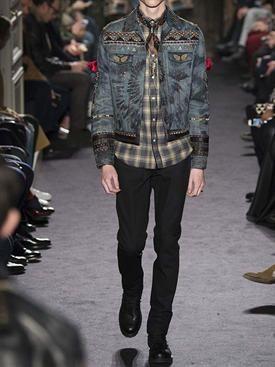 valentino - hombre - chaquetas casual - chaqueta de denim de algodón tie-dye decorada