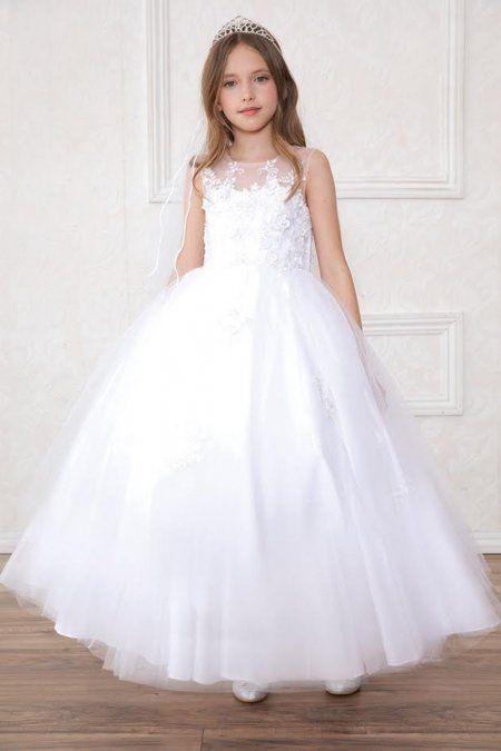2ba91cafd15 White+Beautiful+Sleeveless+Flower+Girl+Dress +CA-SY126-WH+on+www.GirlsDressLine.Com