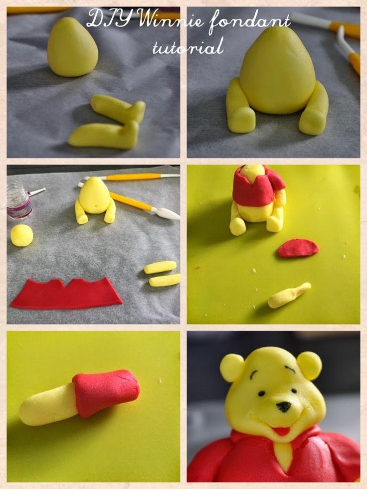 DIY Winnie the Pooh tutorial. How to make a fondant Winnie?  DIY tutoriel Winnie l'Ourson en pâte à sucre. Les détails sur gourmandetcroquant.com