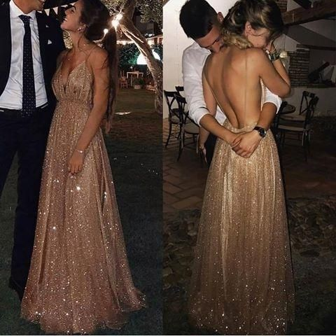 A-line Spaghetti Straps V-neck Sexy Backless Sequins Prom Dresses With Train, PD0551
