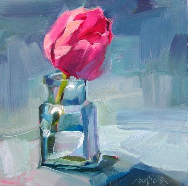 Pink tulips are my all time favorite flower, I could paint them forever. There is something about that hot fuschia pink contrasting with th...