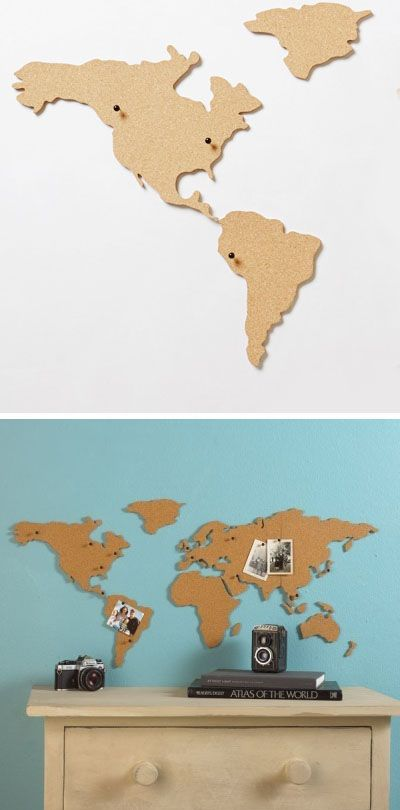 Corkboard Map- Great way to show places you want to travel and places already traveled too. Would be cute to have pins with little flags stating the city name of each.