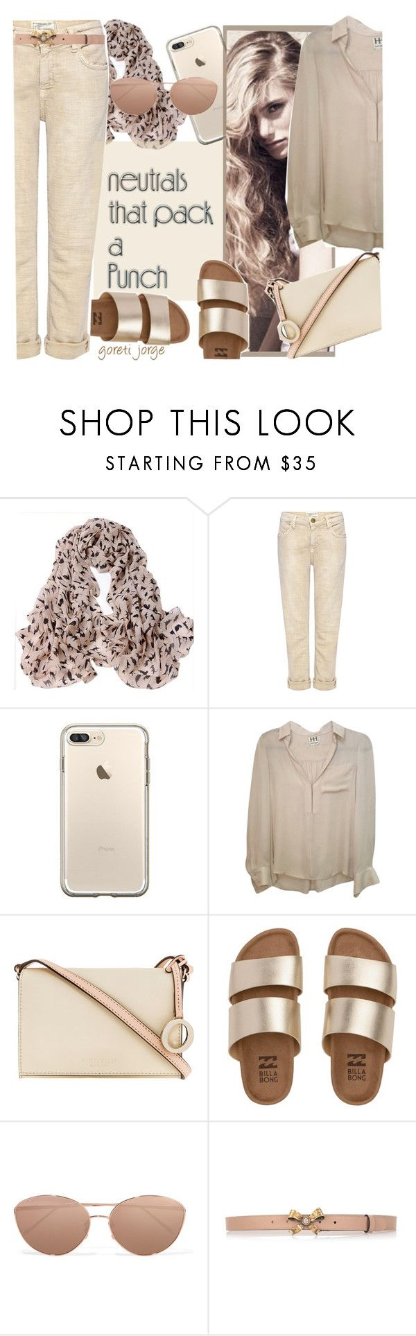 """""""Nude"""" by goreti ❤ liked on Polyvore featuring Current/Elliott, Haute Hippie, Oroton, Billabong, Linda Farrow, Gucci and neutrals"""