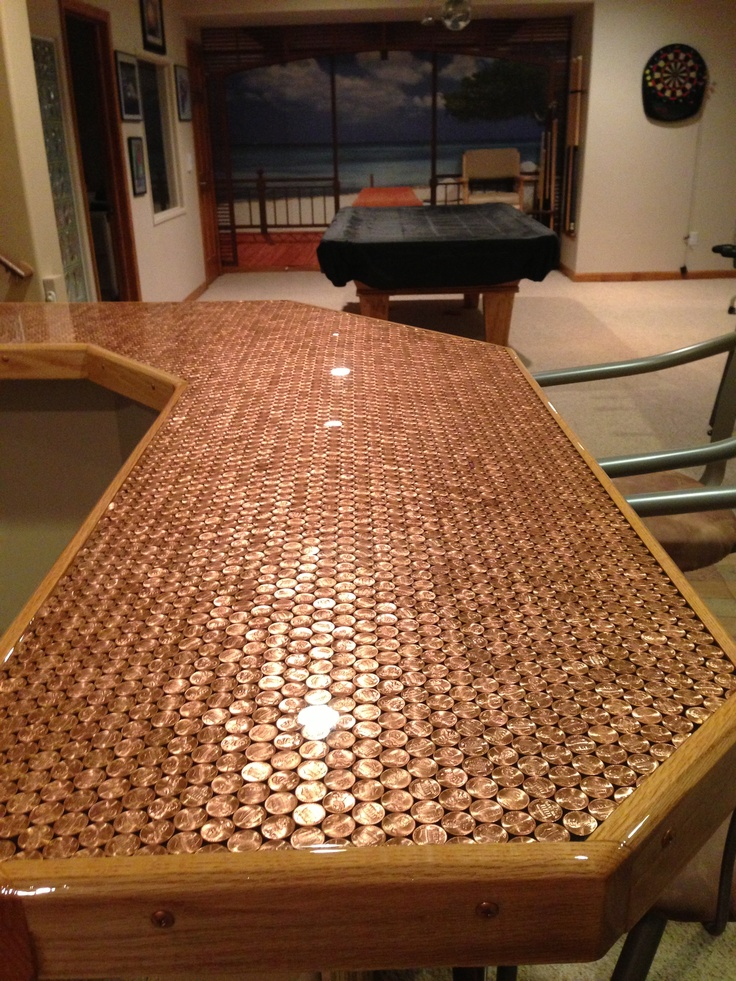Wonderful Penny Bar Counter Top, Under Crystal Clear Epoxy. 5,034 Pennies All Pennies  Are 2012