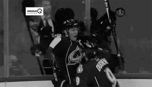 Duchene jumps on Landy after his first goal as captain 01/22/2013, LA Kings vs Colorado Avalanche
