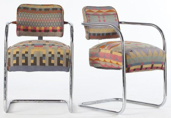 Bent Metal Chair With Bauhaus Fabric in Sunnyside, Queens, NY, USA ~ Krrb