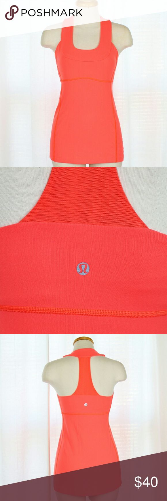 Luluoemon Scoop Neck Tank with Mesh Racerback Lululemon neon melon mesh racerback tank top in gently used condition. This top features moisture wicking, breathable, Luxtreme 4-way stretch fabric with scoop neck and built in shelf bra. Perfect for any type of workout!  Please let me know if you have questions, or need more pictures. I will consider all reasonable offers, but no trades, please. lululemon athletica Tops Tank Tops