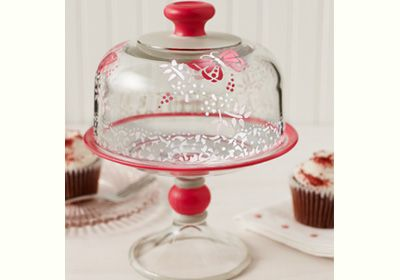 A cake dome with a pretty personal touch. This was created using Martha Stewart paints. #plaid crafts #crafts #Martha Stewart #cake