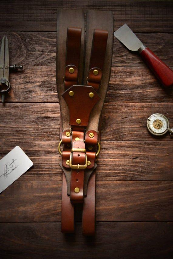 Sword belt Leather Suspenders Handmade Suspenders Personalize Mens Suspenders