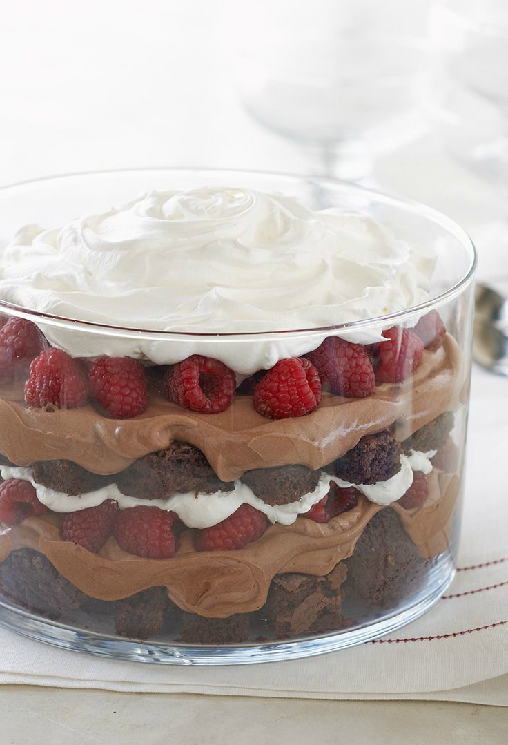 Chocolate Passion Bowl -- Chocolaty brownies with layers of pudding, whipped topping and fresh raspberries--all in one easy dessert? Plus, it's prepped in just 20 minutes time! Cue the applause.
