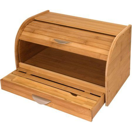 Wooden Bread Box Bamboo Bakery Drawer Vintage Storage Bin Set.This attractive Wooden Bread Box Bamboo Bakery Drawer Vintage Storage Bin Set is the eco-friendly alternative to traditional bread boxes.This bread box has a classic roll-top design that is easy to open, yet keeps your bread fresh and protected. When displayed on the kitchen countertop, this bread storage box will add a decorative touch to your kitchen space.
