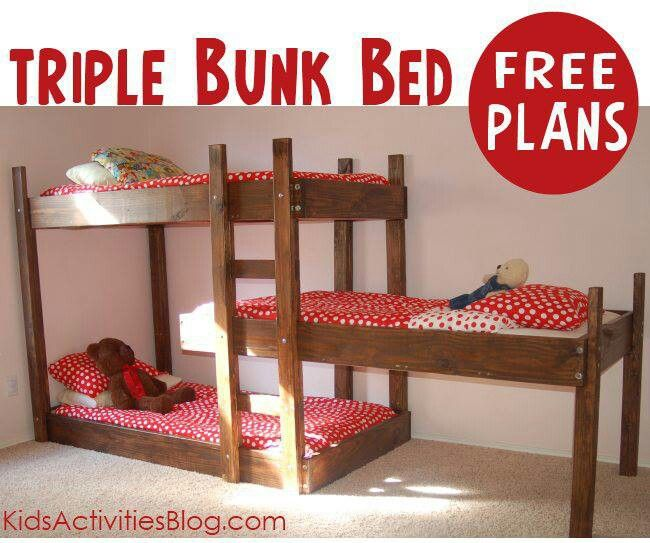 Triple bunk beds staggered free plans kid bedrooms for Triple bunk bed