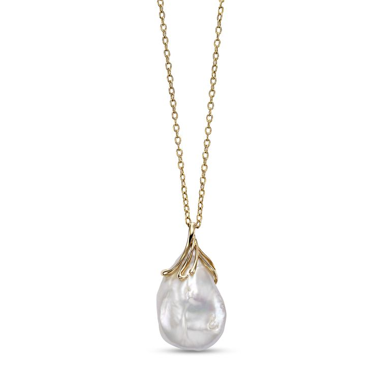 """Large baroque pearl pendant with 36"""" chain"""