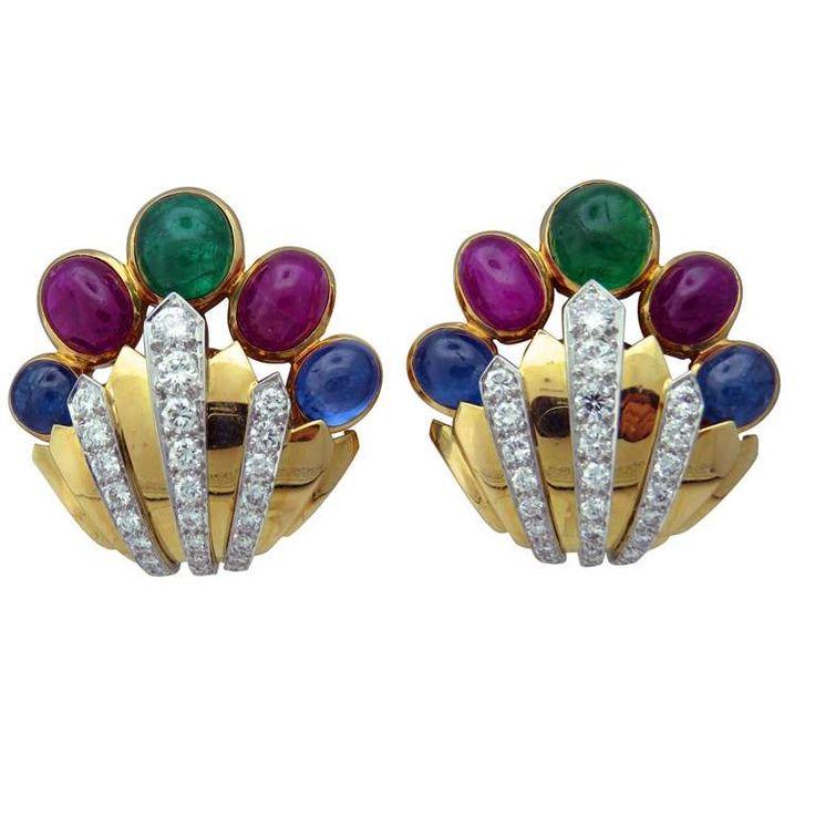 David Webb Diamond Ruby Emerald Sapphire Gold Platinum Earrings 1