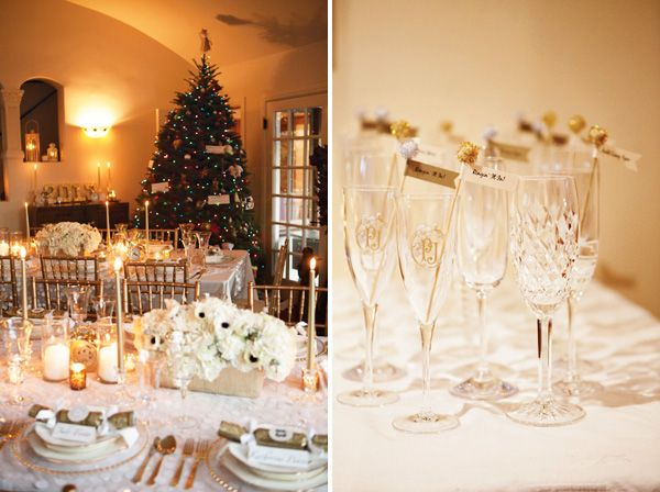 crystal champagne flutes + gold glittered flags