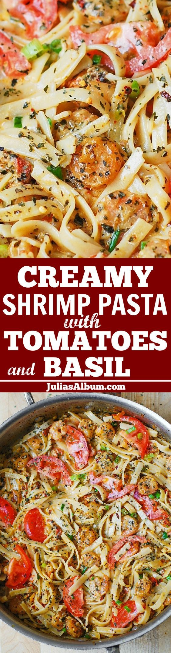 Spicy Shrimp with Basil Tomato Fettuccine Pasta - Lots of garlic and fresh tomatoes, smothered in a flavorful and spicy creamy sauce!