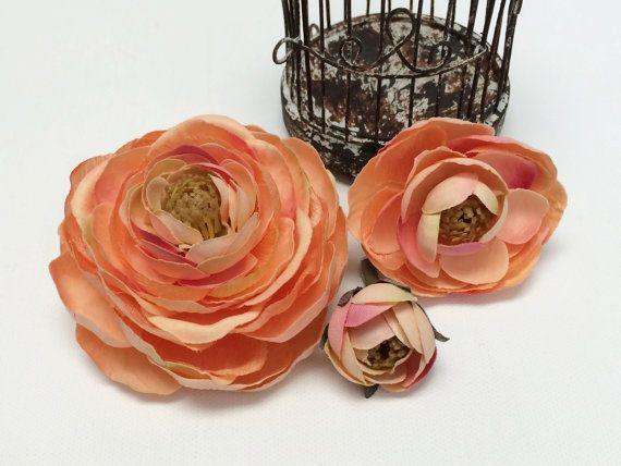 45 best silk flowers on etsy images on pinterest floral crowns artificial flowers peach pink ranunculus flowers by blissfulsilks 549 mightylinksfo