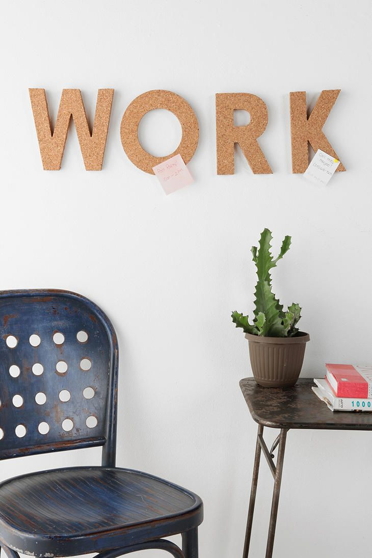 Cork Letter  #UrbanOutfittersIdeas, Urban Outfitters, Work Spaces, Workspaces, Corks Boards, Corks Letters, Diy, Home Offices, Crafts