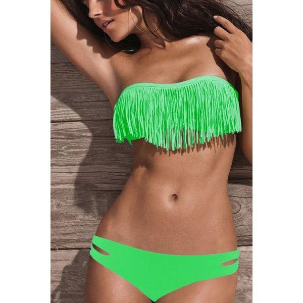GREEN STRAPLESS TASSEL LOOK BIKINI BOTTOM CUTOUT DESIGN TWO PIECE... ($21) ❤ liked on Polyvore featuring swimwear, bikinis, strapless swimsuits, bathing suits bikini, green swimsuit, swim suits and green bikini