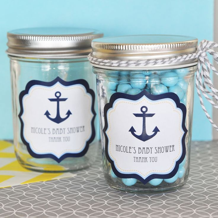 Nautical Baby Shower Personalized Mini Mason Jars #nauticalbabyshower #masonjars #babyshowerfavors