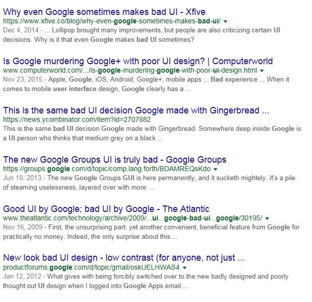 [Перевод] OK Google, что насчет хороших интерфейсов?    Не все любят продукты Google, но практически каждый, у кого есть смартфон/компьютер/ноутбук, использует их. Поразительно, как компания, основанная двумя студентами, завоевала огромную долю рынка, стала одним из наиболее привлекательных работодателей и продолжает ежегодно удивлять нас высоко инновационными идеями. Но ещё поразительнее, что гигант с шестьюдесятью тысячами работников не может позволить себе хороший пользовательский…