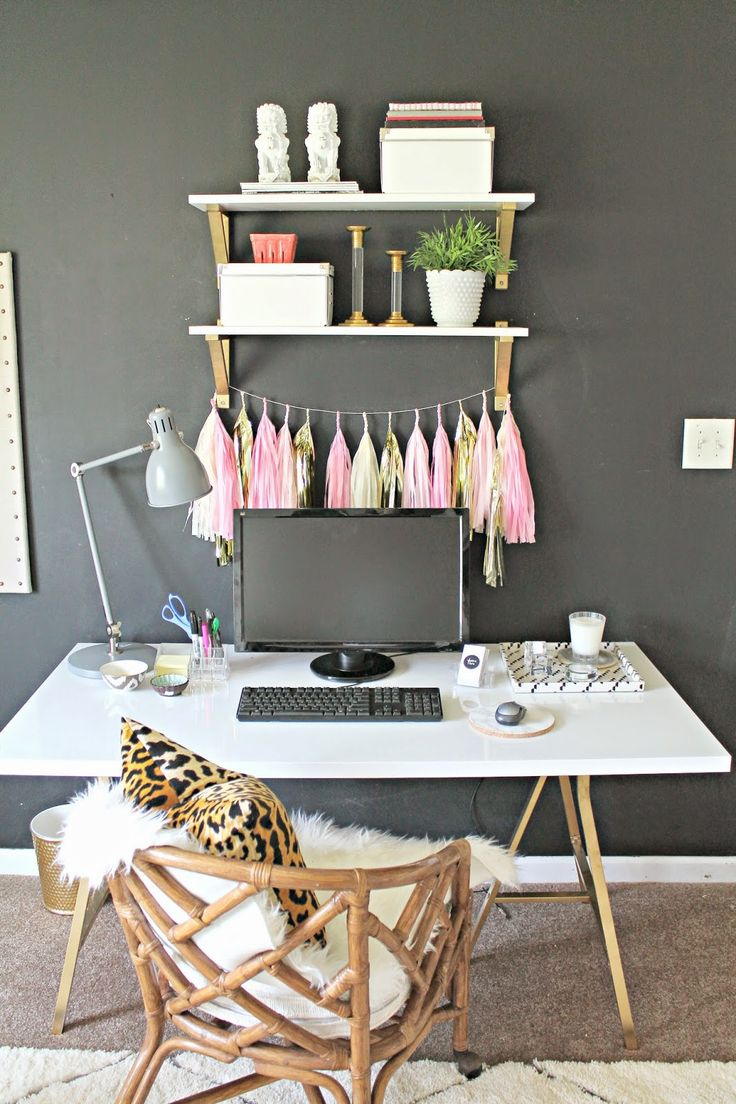 DIY Ikea Hack desk and shelves by Burlap and Lace