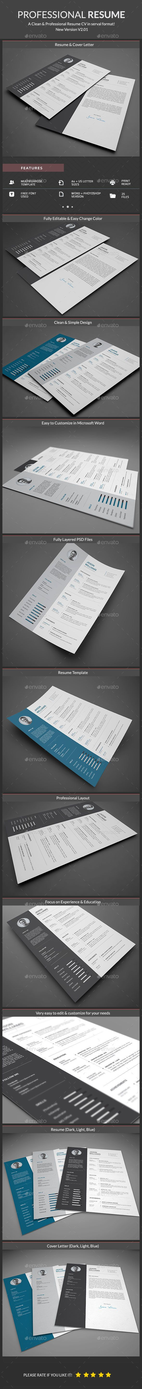 key words for resume%0A Buy Resume by ElegantDesign on GraphicRiver  Professional and Clean Resume  Template  A Clean Cover Letter