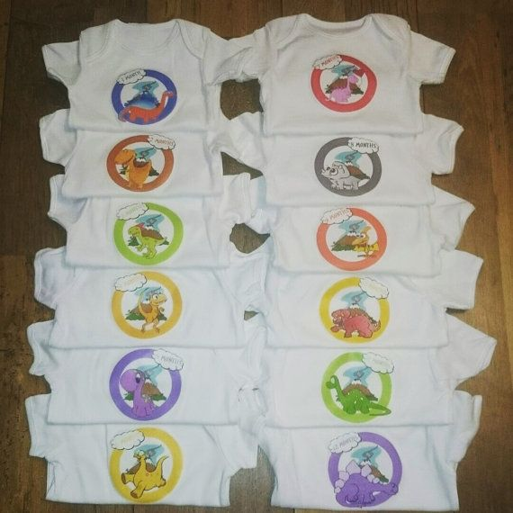 Fully customised set of 12 monthly baby grows 1 for by DaisysDozen