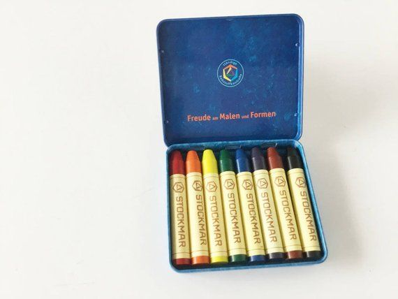 12 Standard Colours in a Cardboard Stockmar Beeswax Block Crayons