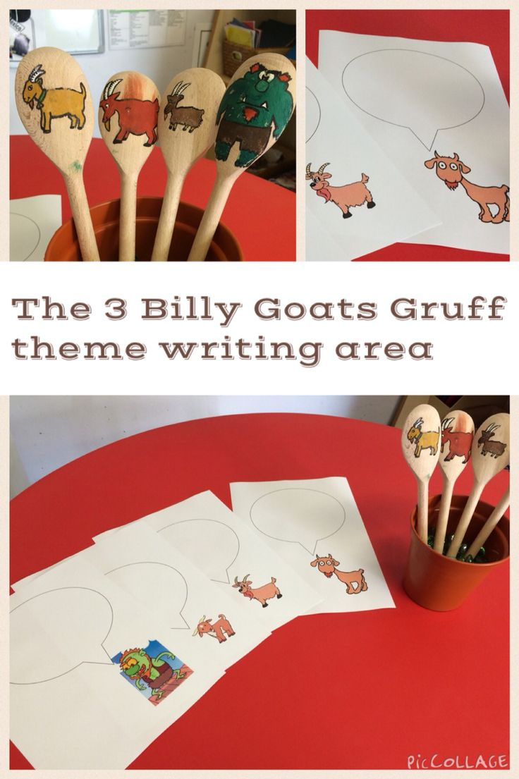 The Three Billy Goats Gruff writing area enhancements for EYFS. Stick puppets and speech bubble writing.