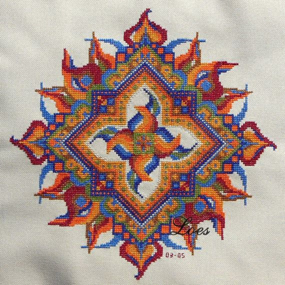 FIRE Mandala crossstitch pattern based on by LoesManfredCreations, $12.00