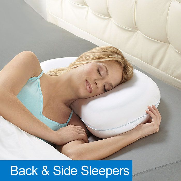 Biosense plustm arc shaped sleep pillow with cool gel for Best down pillows for side sleepers