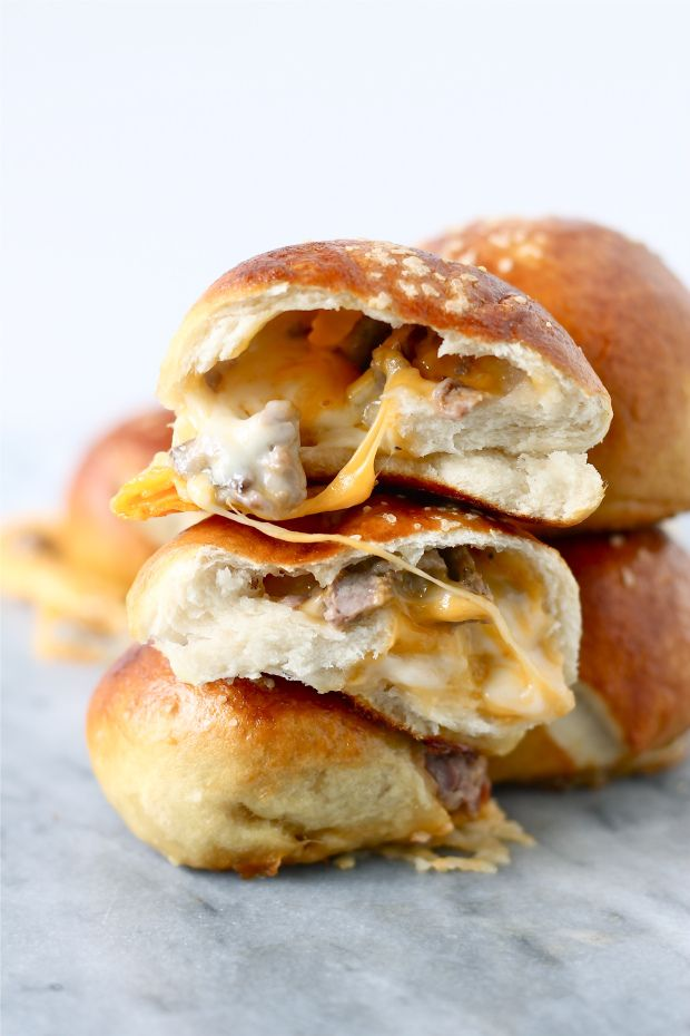 Steak and Cheese Stuffed retzels by Perpetually Hungry as part of the Friday Five - Superbowl addition 2 - Feed Your Soul Too