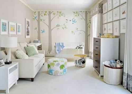 Chambre bébé dans les tons bleu-gris-vert