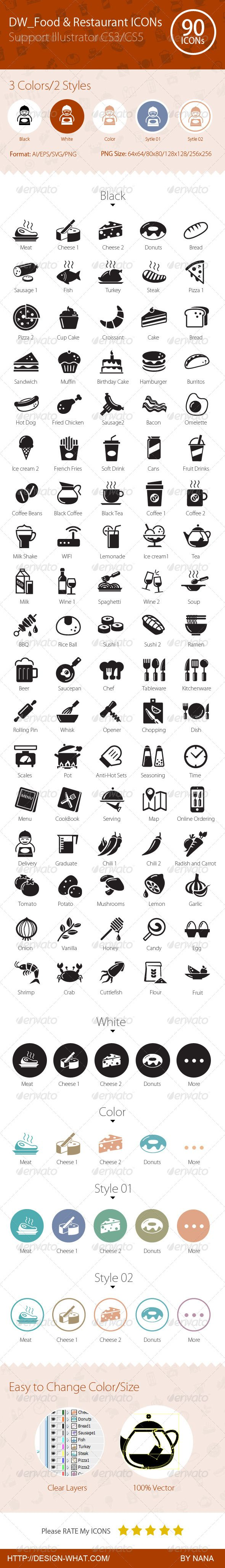 90 Food & Restaurant ICONs (Web)